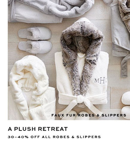 30-40% Off All Robes & Slippers from Pottery Barn