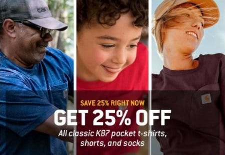 25% Off All Classic K87 Pocket T-shirts, Shorts, and Socks from Carhartt