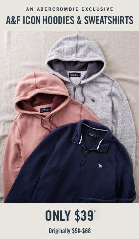 $39 A&F Icon Hoodies & Sweatshirts from Abercrombie & Fitch