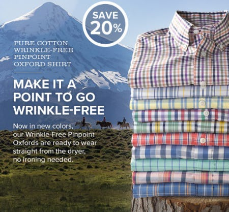 Save 20% Pure Cotton Wrinkle Free Pinpoint Oxford Shirt from Orvis