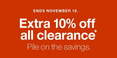 Extra 10% Off All Clearance