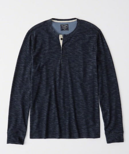 Textured Long-Sleeve Henley from Abercrombie & Fitch