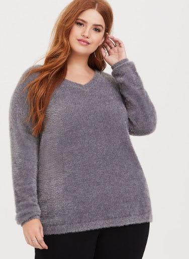 Grey Eyelash Knit Tunic Sweater from Torrid
