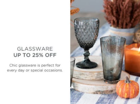 Glassware Up to 25% Off from Kirkland's