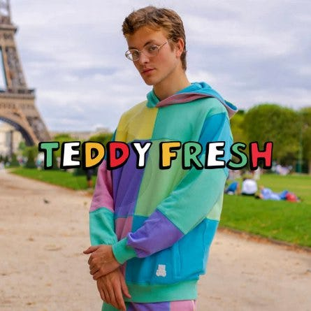 Teddy Fresh Patchwork Sunrise Mint Colorblock Hoodie from Zumiez