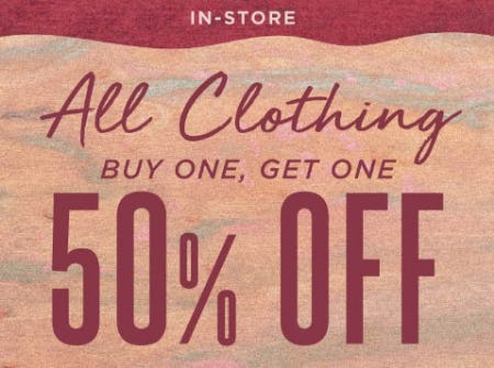 All Clothing Buy One, Get One 50% Off from Earthbound Trading Company