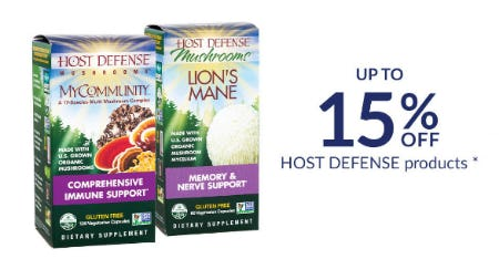 Up to 15% Off Host Defense Products from The Vitamin Shoppe