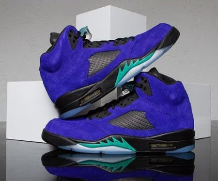 The Jordan Retro 5 'Alternate Grape' from Champs Sports