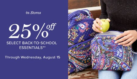 25% Off Back-To-School Essentials from Vera Bradley