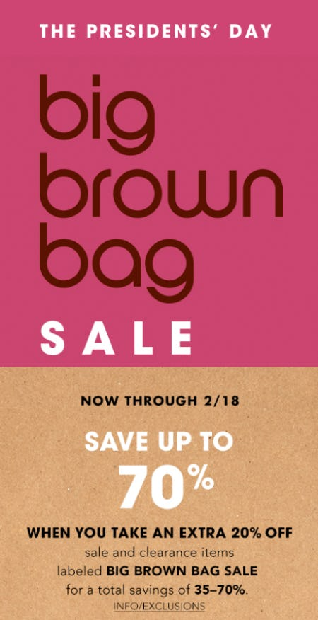 22d5831956af Big Brown Bag Sale Up to 70% Off