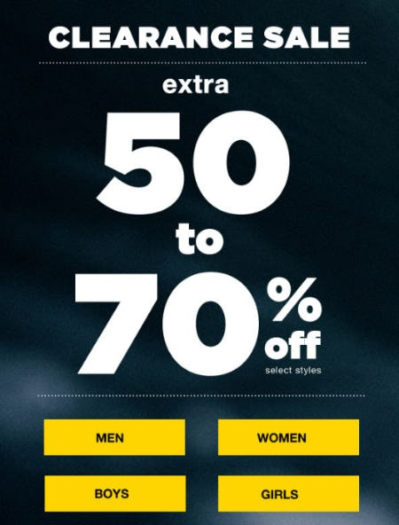 Clearance Sale: Extra 50-70% Off Select Styles
