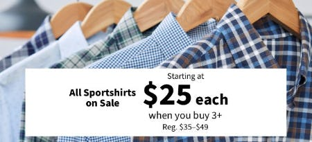 All Sportshirts Starting at $25 Each When You Buy 3 or More