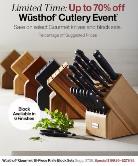Up to 70% Off Wüsthof Cutlery Event from Crate & Barrel