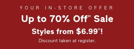 Up to 70% Off Sale from Gap