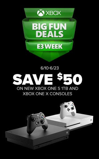 $50 Off New Xbox One S 1TB & Xbox One X Consoles