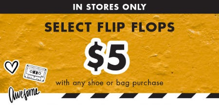 Select Flip Flops at $5 with any Shoe or Bag Purchase from DSW Shoes