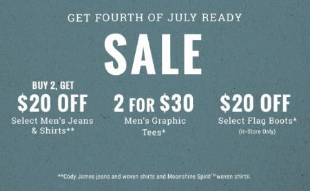 Fourth of July Sale from Boot Barn Western And Work Wear