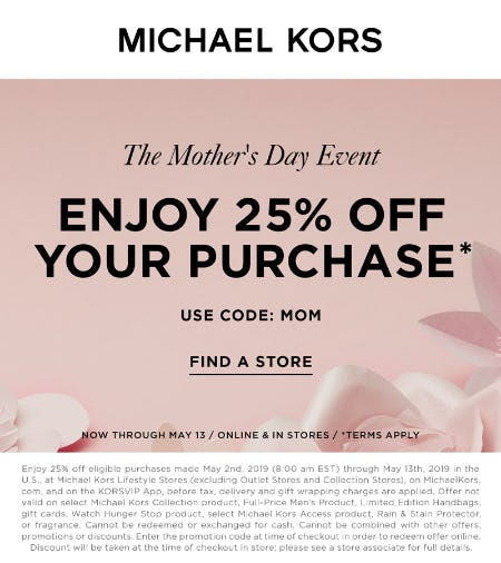 99f8d5ec0b29 Sale at MICHAEL KORS. The Mother s Day Event