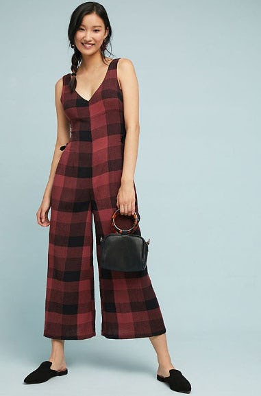 Checked Wide-Leg Jumpsuit from Anthropologie