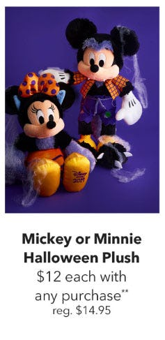 $12 Mickey or Minnie Mouse Halloween Plush with Any Purchase from Disney Store