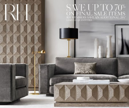 Up to 70% on Final Sale Items from Restoration Hardware