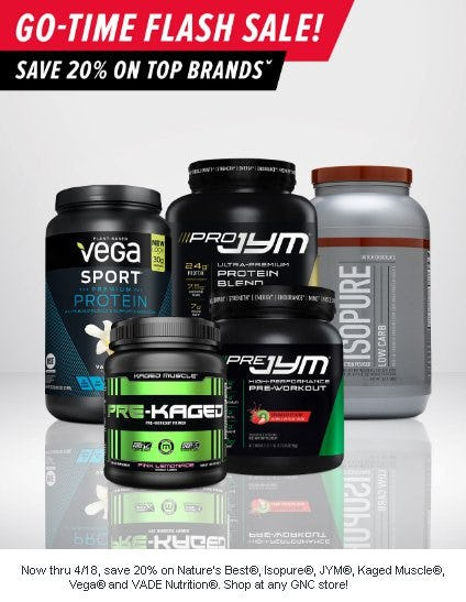 Save 20% on Top Brands from GNC