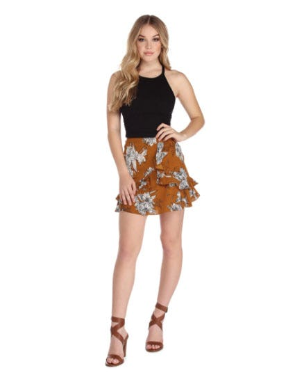 Falling For Floral Mini Skirt