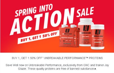 Buy 1, Get 1 50% Off Unbreakable Performance Proteins from GNC