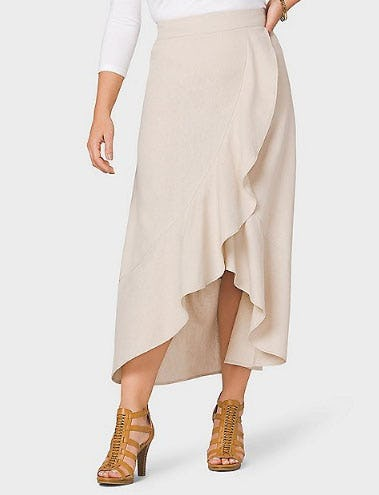 Linen Ruffle Skirt from Dress Barn, Misses And Woman
