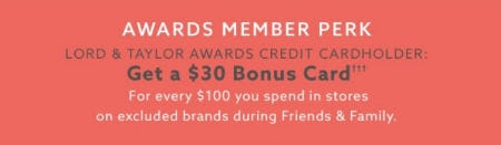 Get a $30 Bonus Card from Lord & Taylor