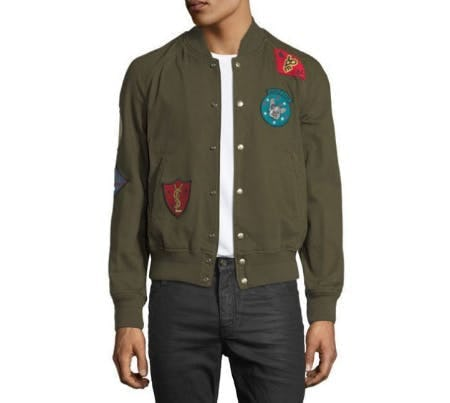Saint Laurent Teddy Multi-Patch Twill Bomber Jacket
