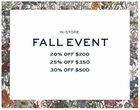 Fall Event up to 30% Off