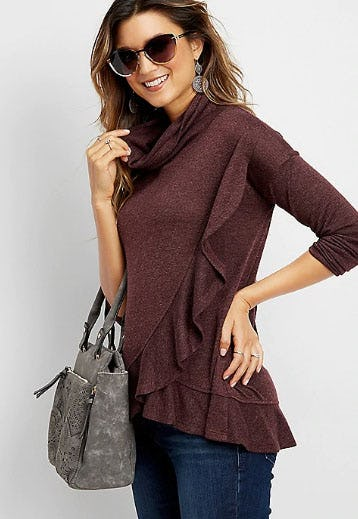 Solid High Neck Ruffled Poncho