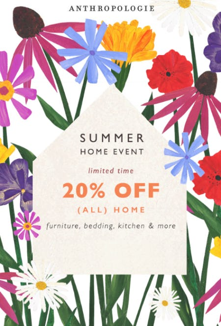 20% Off Summer Home Event from Anthropologie