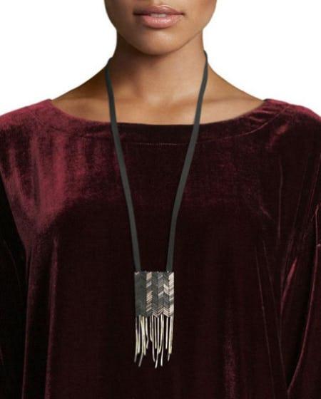 Eileen Fisher Chevron Beaded Silk Pendant Necklace