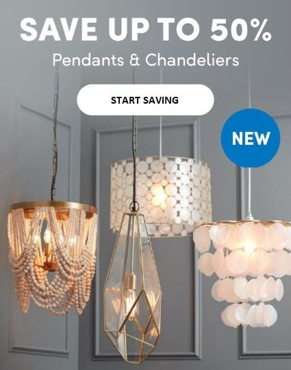 Up to 50% Off Pendants & Chandeliers