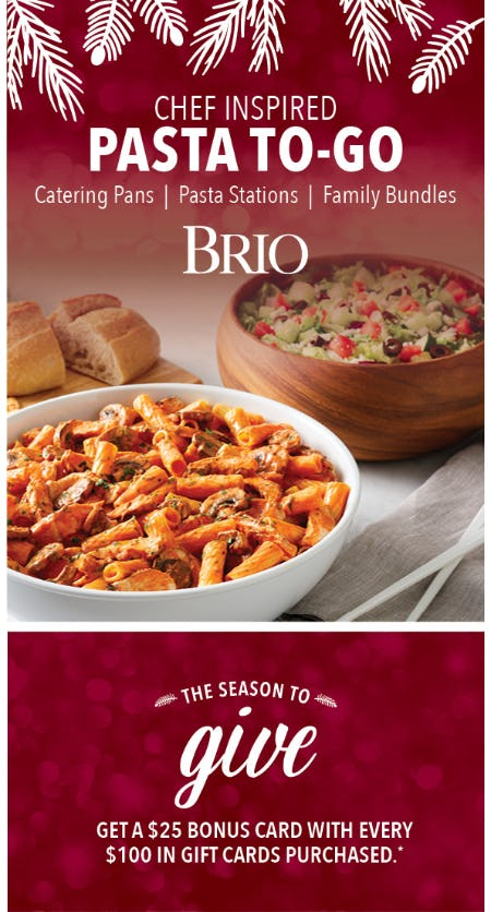 Leave the Cooking to BRIO Tuscan Grille with Catering To-Go!