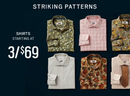 Shirts Starting at 3 for $69 from Men's Wearhouse