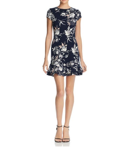 Aqua Ruffle-Hem Floral Print Dress from Bloomingdale's