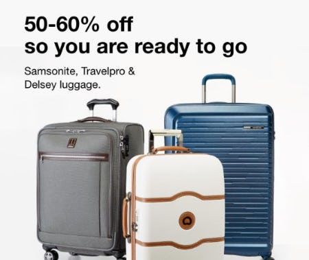 50-60% Off Samsonite, Travelpro & Delsey Luggage from macy's