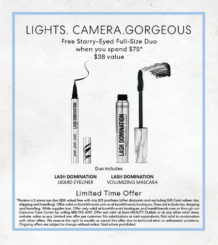 bareMinerals Red Carpet Full-Sized Lash Domination Mascara & Eyeliner Gift with a $75 Purchase from bareMinerals