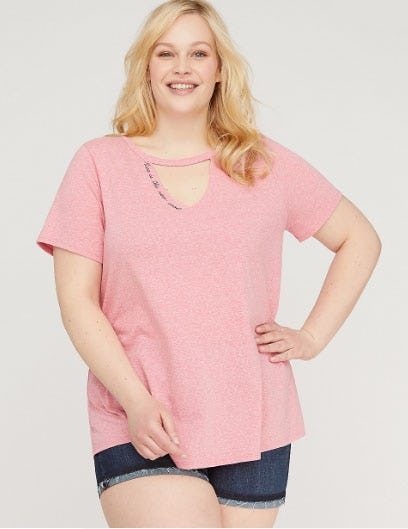 Nice Is The New Cool Graphic Choker Neck Tee from Lane Bryant