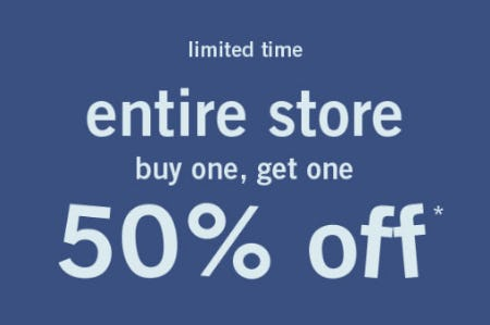 BOGO 50% Off Entire Store from abercrombie kids