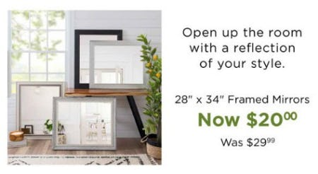 "28"" x 34"" Framed Mirrors Now $20.00 from Kirkland's Home"
