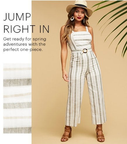 Striped Belted Jumpsuit from Charlotte Russe