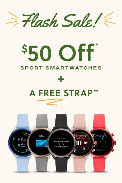 $50 Off Sport Smartwatches + A Free Strap