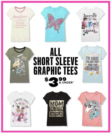 All Short Sleeve Graphic Tees $3.99 & Under