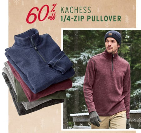 60% Off Kachess 1/4 Zip Pullover from Eddie Bauer