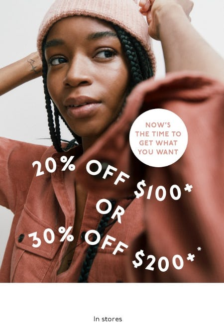 Enjoy Up to 30% Off from Madewell