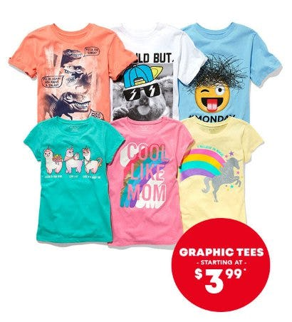 Graphic Tees Starting at $3.99